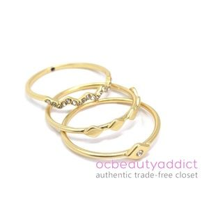 Madewell Geometric Gold Pave Triple Stack Ring Set